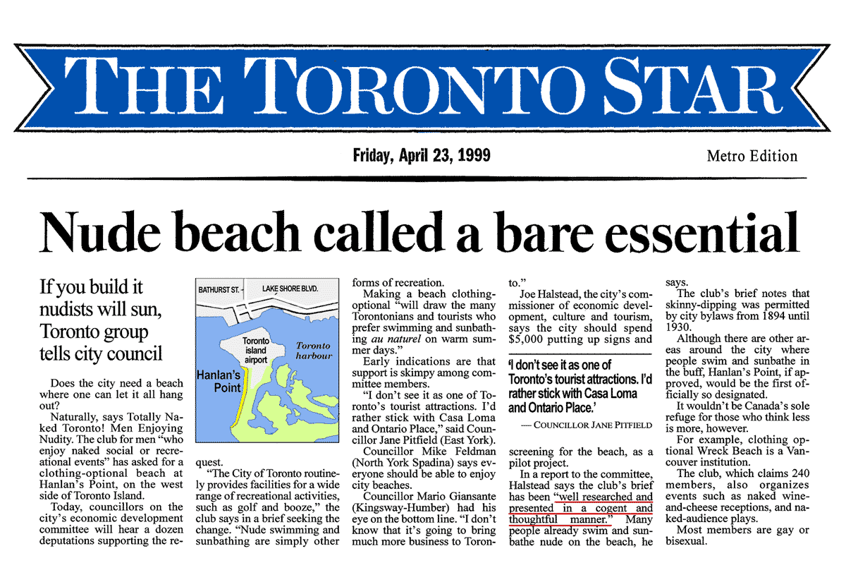 Toronto Star 1999-04-23 p.A1 - Hanlan's Point CO-zone proposed by Simm in his brief to Council